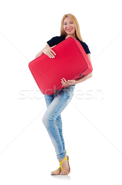 Woman preparing for vacation on white Stock photo © Elnur