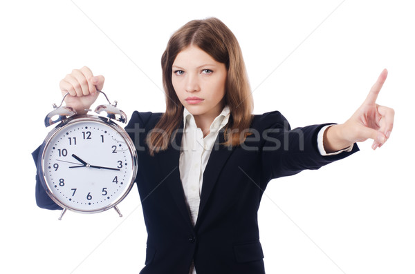 Foto d'archivio: Imprenditrice · clock · isolato · bianco · donna · ufficio