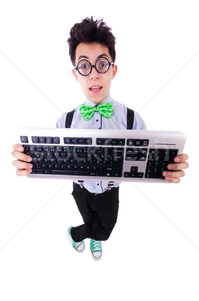 Bilgisayar geek inek öğrenci komik iş Internet Stok fotoğraf © Elnur