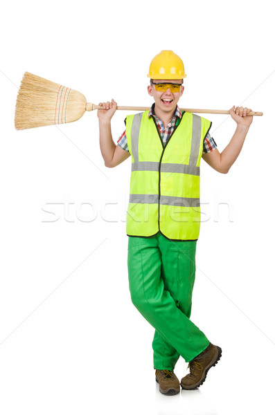 Funny janitor with broom isolated on white Stock photo © Elnur