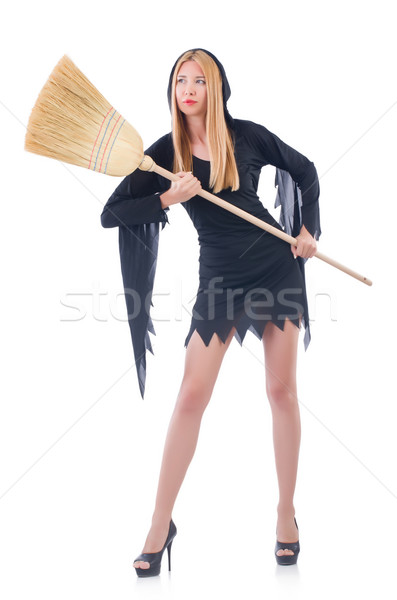 Femme balai blanche cheveux maison fond Photo stock © Elnur