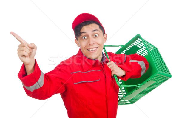 Człowiek czerwony zakupy supermarket koszyka tle Zdjęcia stock © Elnur