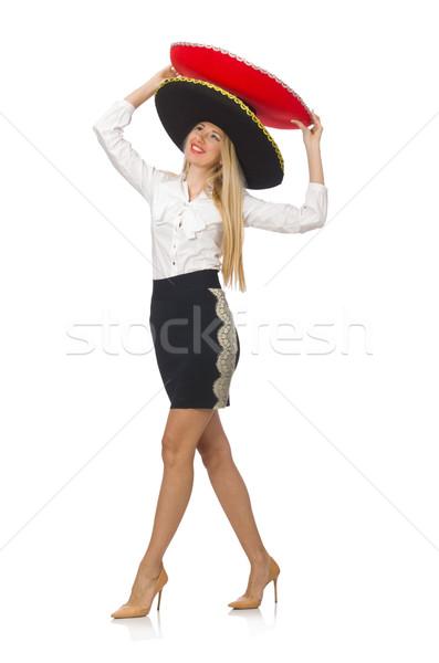 Сток-фото: женщину · сомбреро · изолированный · белый · лице