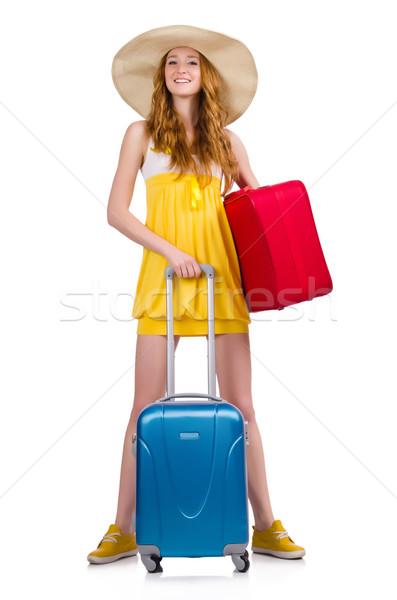 Mulher férias de verão branco menina feliz moda Foto stock © Elnur