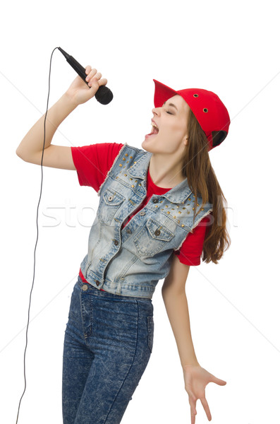 Mooie meisje karaoke geïsoleerd witte vrouw Stockfoto © Elnur