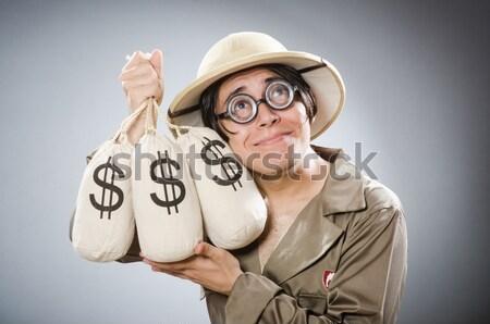 Férfi szafari kalap vadászat természet vicces Stock fotó © Elnur
