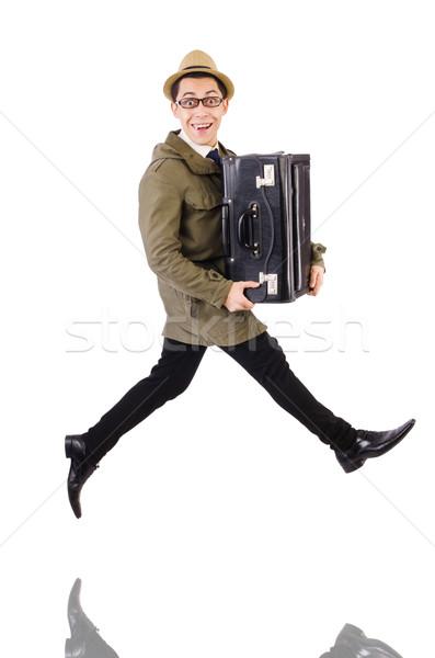 Młody człowiek teczki odizolowany biały działalności oka Zdjęcia stock © Elnur