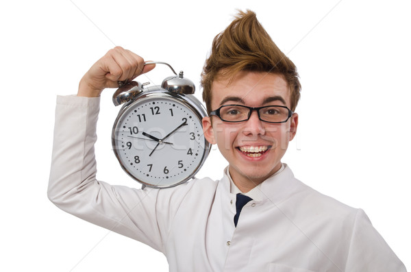 Funny doctor with alarm clock isolated on white Stock photo © Elnur