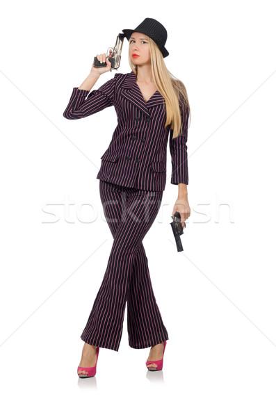 Nő gengszter fegyver klasszikus szexi modell Stock fotó © Elnur