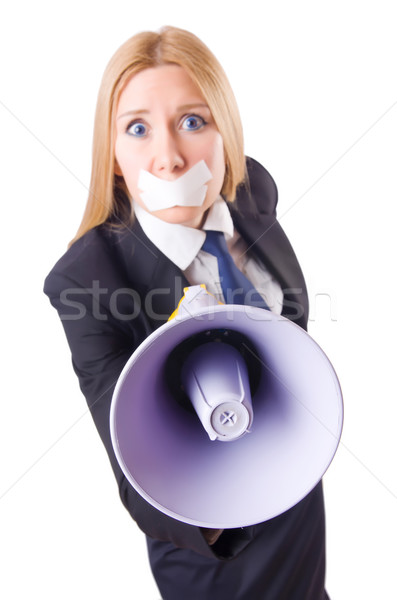 Businesswoman in censorship concept isolated on white Stock photo © Elnur