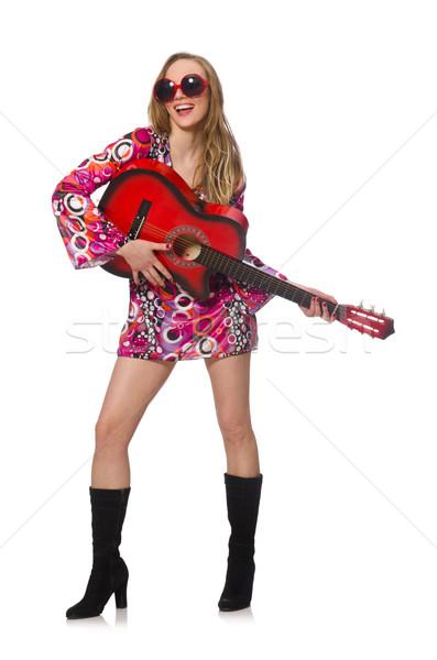 Donna chitarrista isolato bianco musica party Foto d'archivio © Elnur