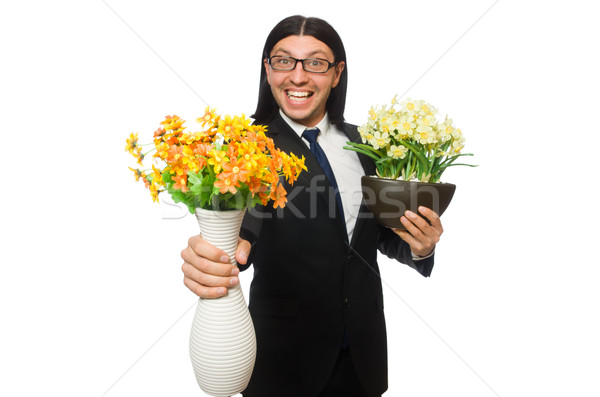 Handsome businessman with flower pot isolated on white Stock photo © Elnur