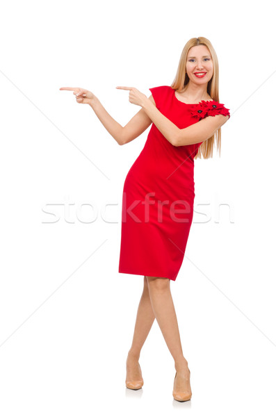 Blond woman in scarlet dress isolated on white Stock photo © Elnur