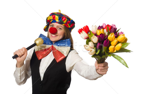 Pretty female clown with flowers isolated on white Stock photo © Elnur