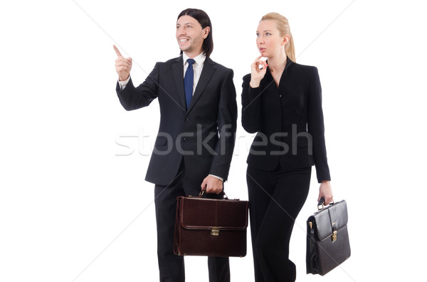Businessman and businesswoman with briefcases isolated on white Stock photo © Elnur