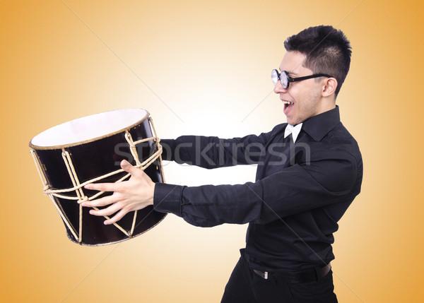 Divertente uomo tamburo bianco mano divertimento Foto d'archivio © Elnur