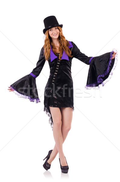 Pretty girl in purple carnival clothing and hat isolated on white Stock photo © Elnur
