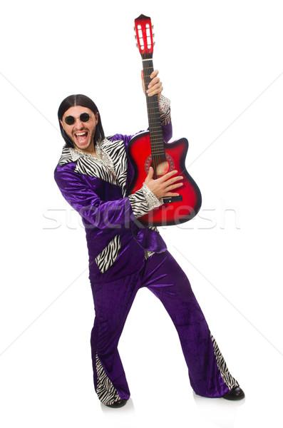 Сток-фото: человека · смешные · одежду · гитаре · изолированный