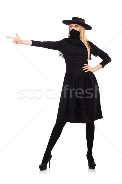 Woman in long black dress isolated on white Stock photo © Elnur