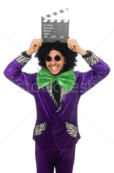 Vicces férfi paróka tábla izolált fehér Stock fotó © Elnur