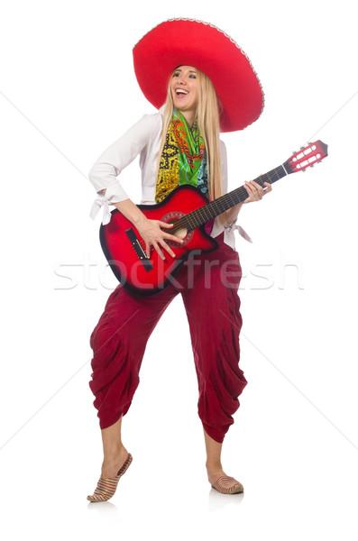 Nő visel gitár szombréró buli diszkó Stock fotó © Elnur