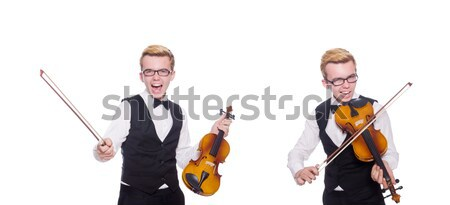 Young musician with violin isolated on white Stock photo © Elnur