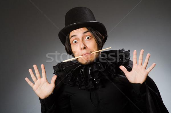 Grappig goochelaar cilinder hoed meisje Stockfoto © Elnur