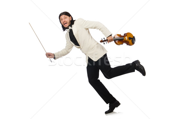Man with violin playing on white Stock photo © Elnur