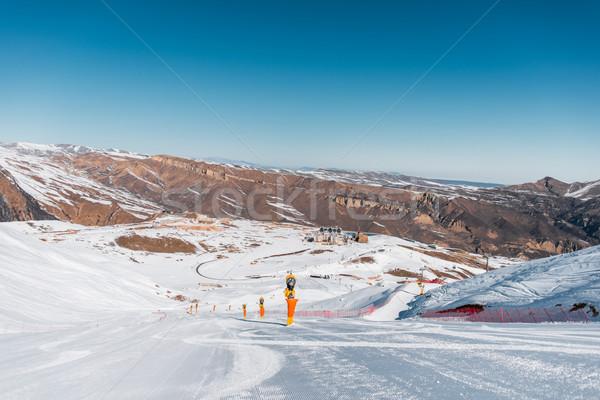 Stok fotoğraf: Kış · dağlar · bölge · Azerbeycan · gökyüzü · güneş
