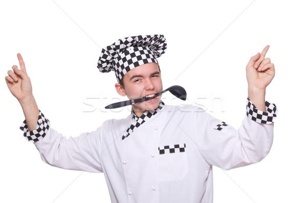 молодые повар равномерный изолированный белый фон Сток-фото © Elnur