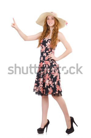Cute blonde girl in floral dress isolated on white Stock photo © Elnur