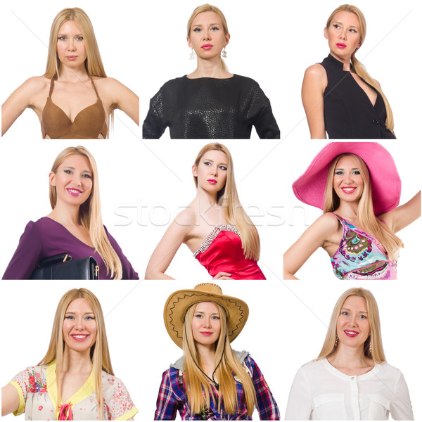 Collage of many faces from same model Stock photo © Elnur