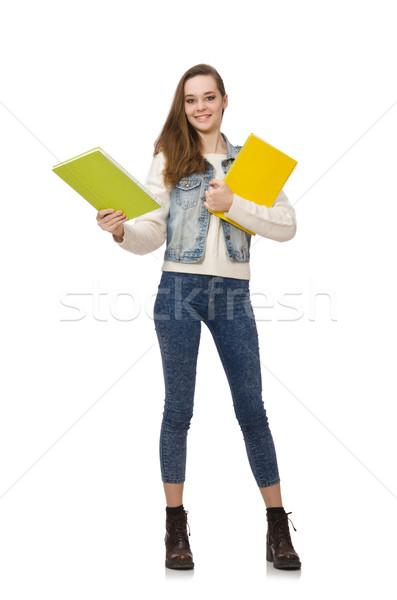 Stock fotó: Csinos · diák · tart · tankönyvek · izolált · fehér
