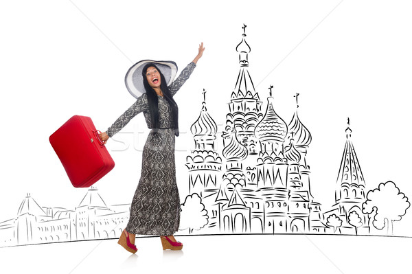 Genç kız turizm Rusya kız mutlu moda Stok fotoğraf © Elnur