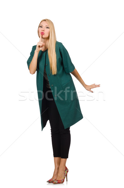 Woman in green coat isolated on white Stock photo © Elnur