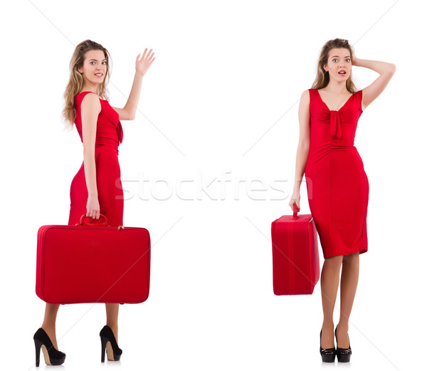 若い女性 赤いドレス スーツケース 孤立した 白 幸せ ストックフォト © Elnur