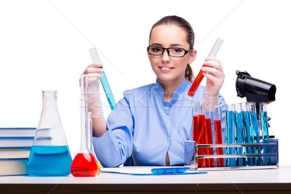 Lab scheikundige werken microscoop arts Stockfoto © Elnur