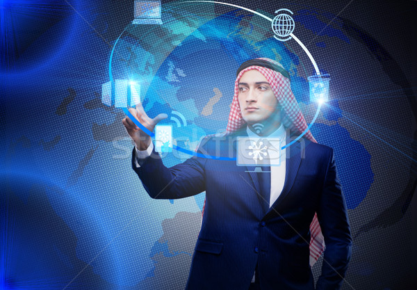 Arab man in global computing concept Stock photo © Elnur