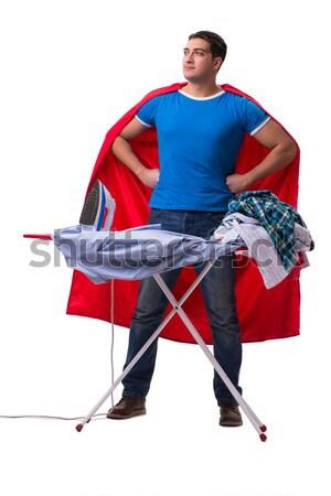 スーパーヒーロー 学生 図書 孤立した 白 背景 ストックフォト © Elnur