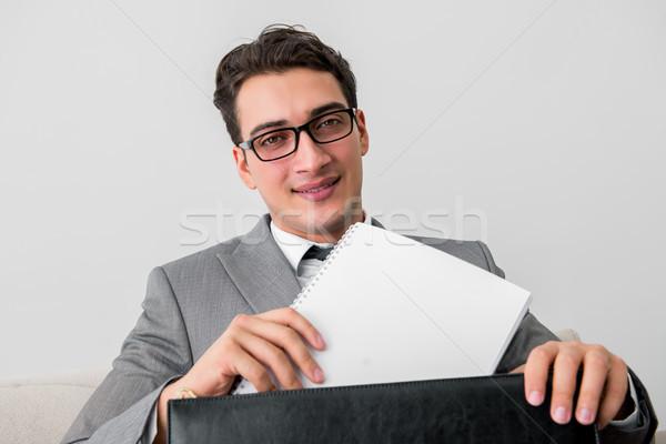 бизнесмен портфель бизнеса служба человека счастливым Сток-фото © Elnur