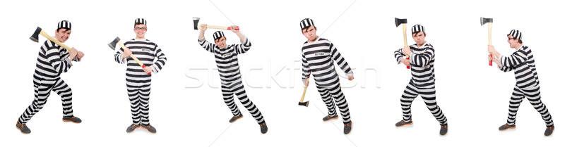 Funny Gefängnis Häftling Mann Hintergrund Recht Stock foto © Elnur