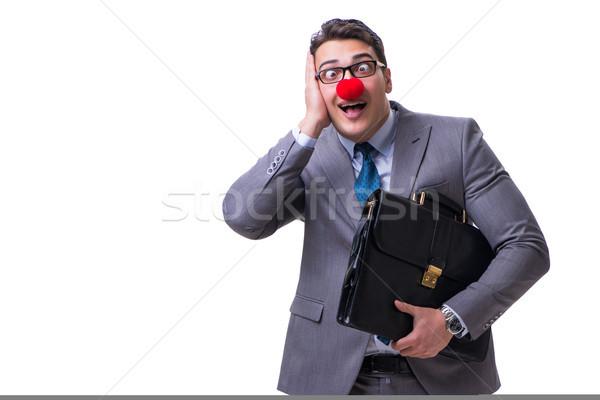 Komik palyaço evrak çantası beyaz yüz adam Stok fotoğraf © Elnur