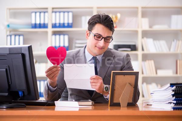 The businessman in saint valentine concept in office Stock photo © Elnur