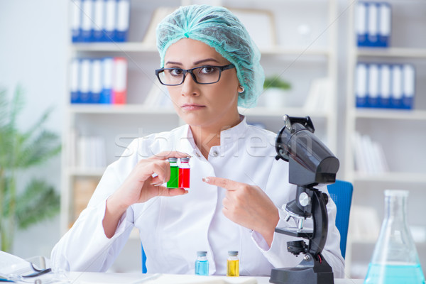 Female scientist researcher conducting an experiment in a labora Stock photo © Elnur