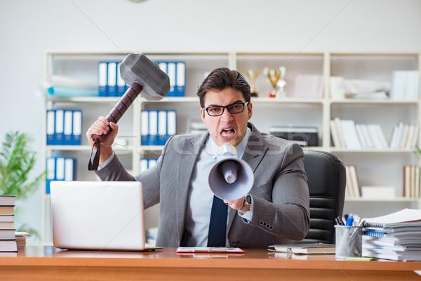 Enojado agresivo empresario oficina hombre trabajo Foto stock © Elnur