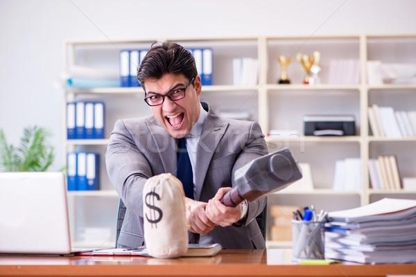 Arrabbiato aggressivo imprenditore ufficio computer lavoro Foto d'archivio © Elnur