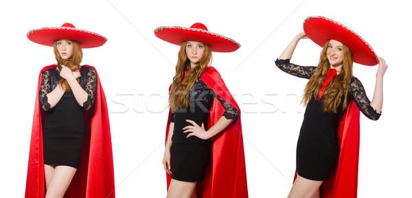 мексиканских женщину красный одежду белый счастливым Сток-фото © Elnur