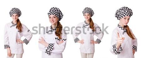 Schöne Mädchen gestreift Kleidung isoliert weiß Frau Stock foto © Elnur