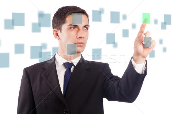 Stock fotó: Fiatal · üzletember · kisajtolás · virtuális · gombok · üzlet
