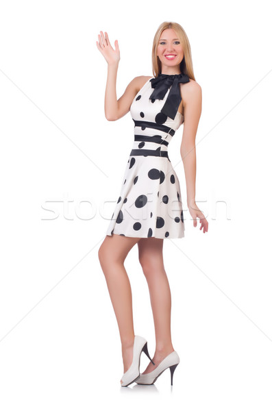 Tall model dressed in dress with polka dosts on white Stock photo © Elnur